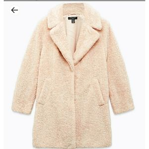 An only worn once long teddy coat for petites